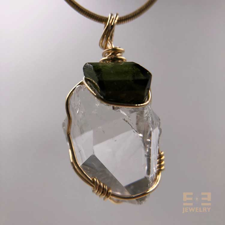 Herkimer Faceted Green Tourmaline