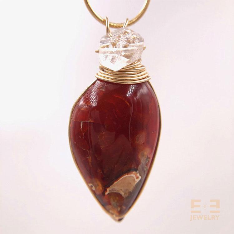 Carnelian cabochon w Herkimer Diamond