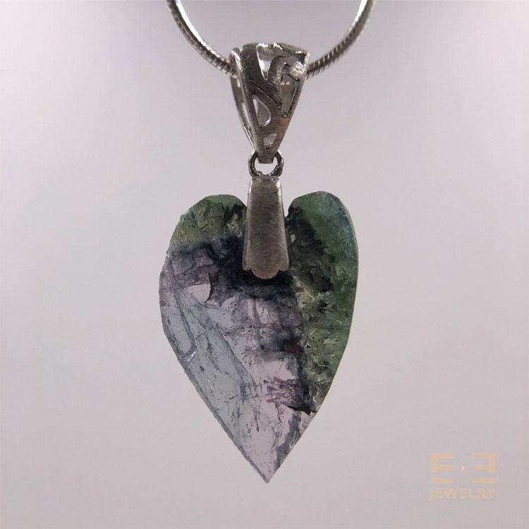 Tourmaline Heart Silver